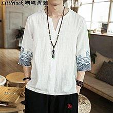 男裝中國風男裝唐裝亞麻棉麻短袖半袖七分袖寬松T恤休閒大碼胖子潮夏