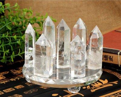 白水晶柱七星陣擺件 水晶家居裝飾品 白水晶尖柱 商務禮品