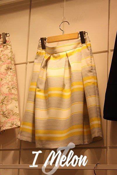 ::: i-MelOn ::: 100%韓國空運 正韓【現貨特惠】氣質條紋及膝裙百褶裙上班裙