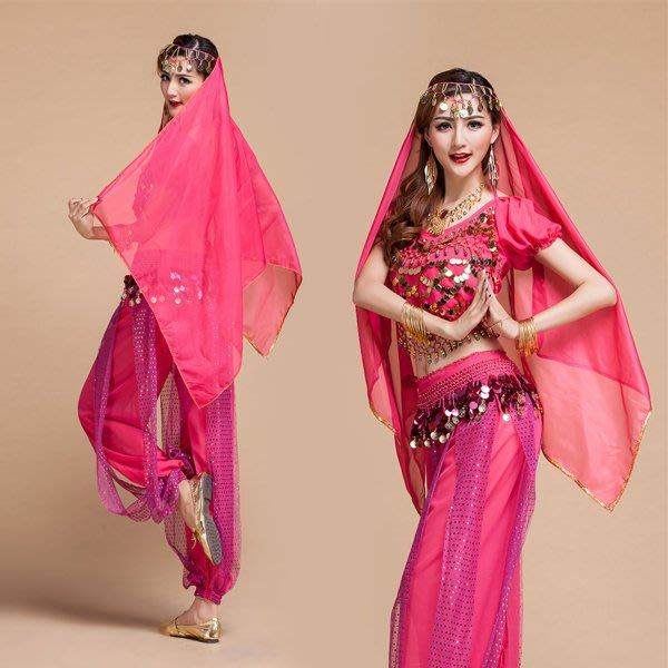 5Cgo【鴿樓】會員有優惠 40471756818 印度風吊幣上衣蛋糕裙肚皮舞套裝印度服飾印度舞衣舞裙含腰鍊頭紗項鍊耳環