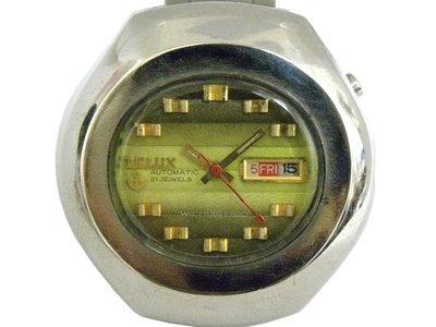 [專業模型] 機械錶 [TELUX 7516-B] 鐵力士 圓型[21石]自動錶[綠色面+星+日期]中性錶/軍錶