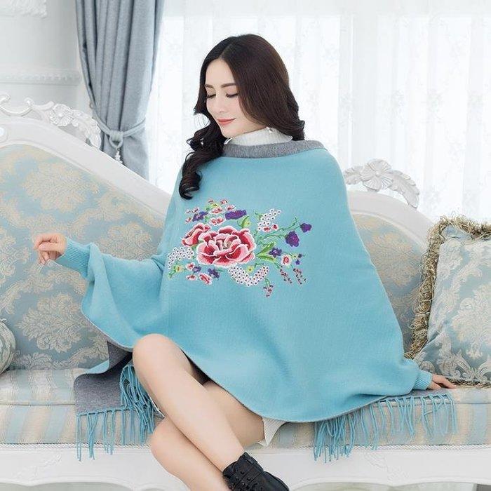 2018新款中國結民族風斗篷針織衫牡丹刺繡流蘇蝙蝠衫大尺碼毛衣洋裝