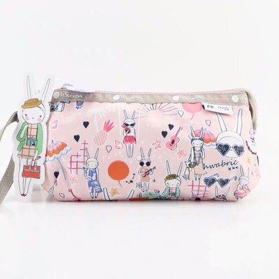 LeSportsac x Fifi Lapin 8105 粉色時尚兔 手掛繩多夾層化妝包 零錢包 收納包 降落傘防水 限量 大號