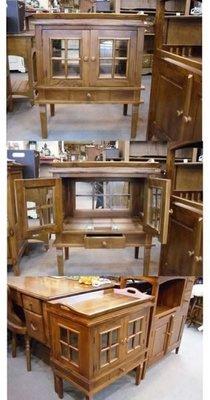 美生活館--100 % 柚木實木--柚木 玻璃展示櫃--泡茶桌 (附上活動托盤)