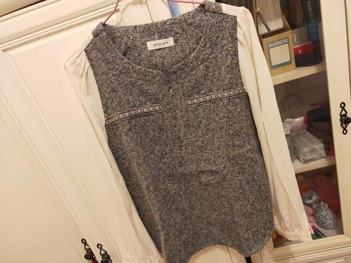 【gunny girls】韓國製 雙料拼接款長袖上衣直購價320含運費