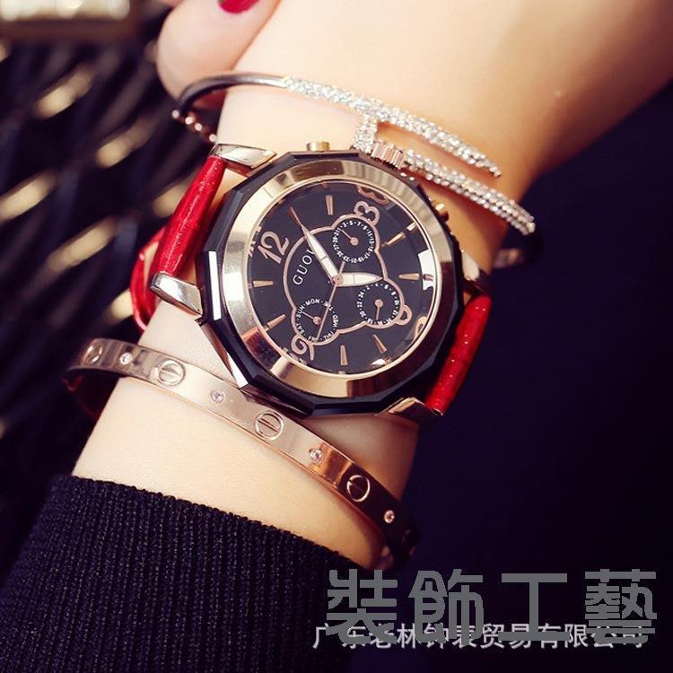 古歐GUOU時尚手錶復古歐美學院三眼圓形石英錶日歷皮帶針扣手錶女