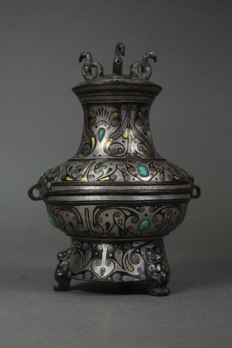 悅年堂 --- 青銅 錯金銀 鳳首壺
