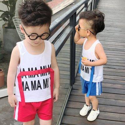 ♥【BS0195XT-6734】韓版男童裝字母印花無袖休閒套裝 2色 (藍+白 現貨) ♥