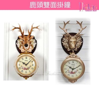 ☆[Hankaro]☆ 歐風古典鹿頭動物雙面掛鐘