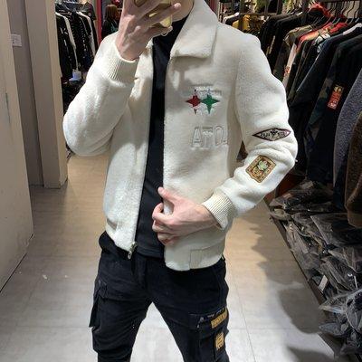 歐韓貨2021冬季新款顆粒絨翻領空軍刺繡貼標時尚休閒夾克男潮流帥氣外套