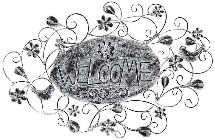 《齊洛瓦鄉村風雜貨》日本zakka雜貨 MURATAYA 復古Welcome歡迎光臨掛飾 藤蔓 花 造型玄關壁掛 裝飾