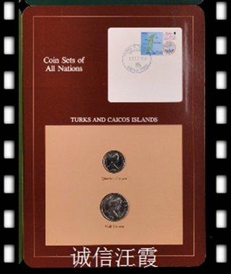 元寶閣富蘭克林特克斯和凱科斯2181年2枚紀念幣 漁業和鹽業+蓋戳郵票