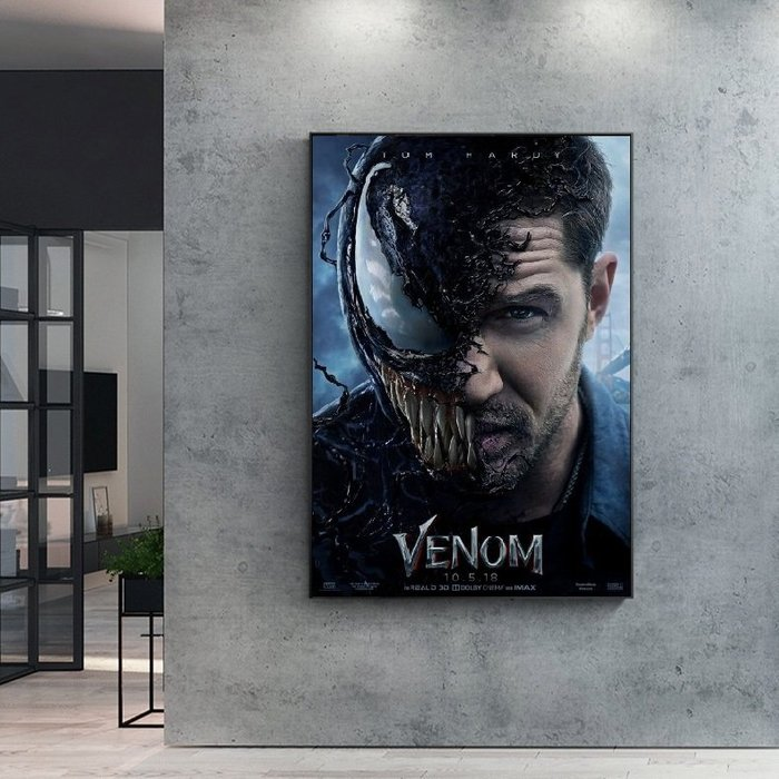 INHUASO 癮|画|所 Venom猛毒電影掛畫英雄角色裝飾畫MARVEL版畫客製掛畫黑蜘蛛人毒液反派人物掛畫收藏畫