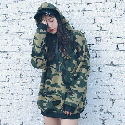 ✨日韓美著✨韓版炫麗女神迷彩加厚連帽上衣camouflage clothing