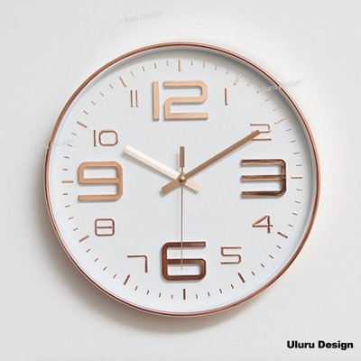 Uluru Design 現代簡約時鐘 北歐風 30x30cm  香檳金 時尚銀 超靜音餐廳客廳服飾店裝飾 極簡時尚設計