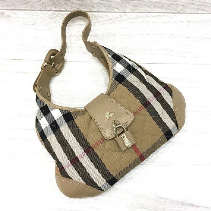 二手旗艦 BURBERRY 駝色 經典格紋 帆布 鎖頭 單肩 肩背包 (公益店)28502