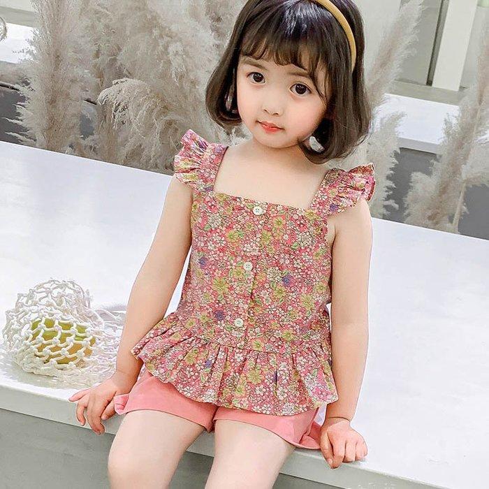 •*~ 辣媽咪衣飾小舖 ~*•❤童裝系列❤K050226韓版小童夏款超萌款碎花飛袖上衣+短褲二件套