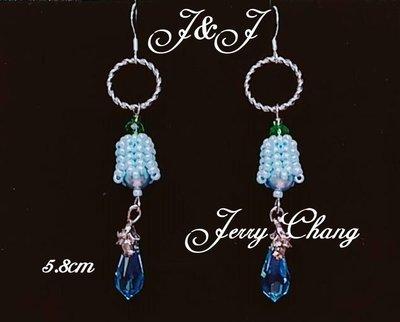 J&J精品~許下心願~珠寶編織水晶鈴蘭花墬俏麗耳環~水藍款