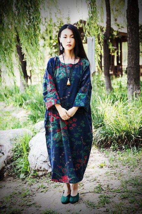 竹竹中國服飾--原創棉麻布衣秋冬新款有裡襯袍子寬松大袍子連衣裙 (特價品)
