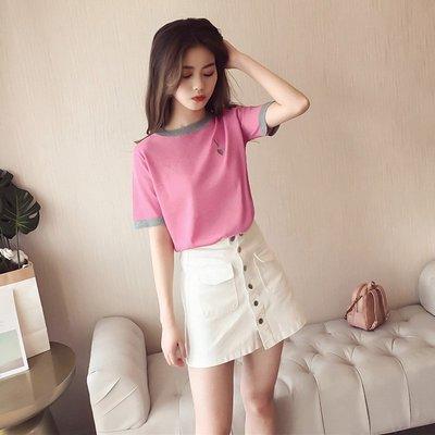 2018夏季新款韓版亮絲T恤女短袖小清新刺繡字母上衣打底衫潮B412