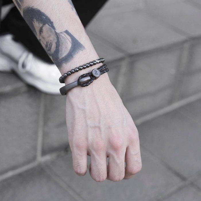 美國東村【Recovery 】勾扣編織手環 (黑銀-黑)