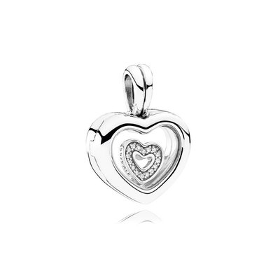 ☆ PANDORA ☆ Floating Heart Locket, Sapphire Crystal Glass CZ
