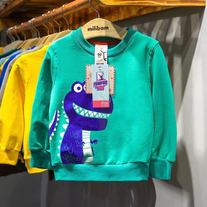 現貨~男童長袖上衣 可愛小恐龍 歐系兒童長袖衣服 毛圈上衣T恤   男童 童T恤☆草莓花園☆DD63