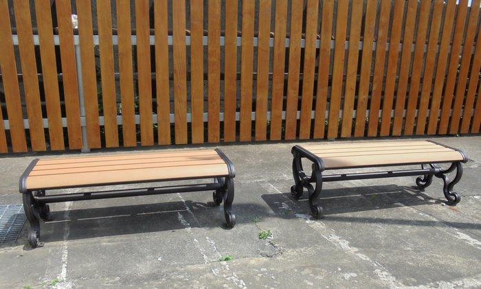 [兄弟牌戶外休閒傢俱]塑木鋁合金無背公園椅L128*W51*H45~門口騎樓公園陽台,堅固耐用。