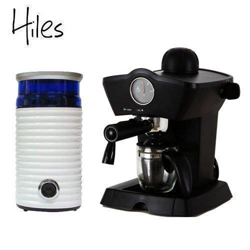 【快速到貨+1年保固】Hiles皇家尊爵組:皇家義式濃縮咖啡機(HE-303)+電動磨豆機(HE-386W2) 高壓蒸氣