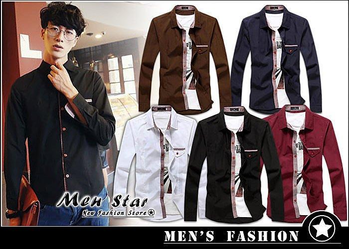 【Men Star】免運費 韓版格紋點綴襯衫 / 長袖襯衫 男 / 媲美 stage uniqlo lacoste dc