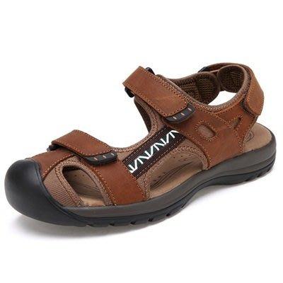 涼 鞋 真皮 拖鞋-涼爽舒適包頭休閒男鞋子3色73mi16[獨家進口][米蘭精品]