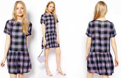 (嫻嫻屋) 英國ASOS-鄰家女孩寬鬆造型繽紛色彩格紋短袖 Dropped Waist Dress洋裝 現貨UK10
