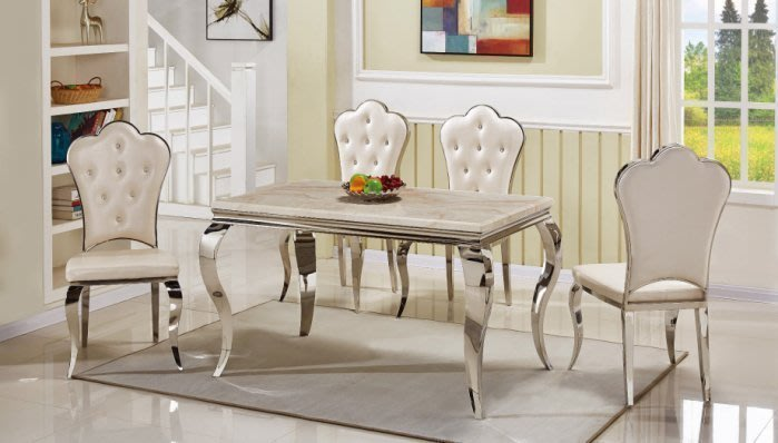 【DH】商品貨號N923-1商品名稱《爾斯》5尺漢白玉石餐桌/餐椅/另計。細膩雅緻經典傢飾_主要地區免運費