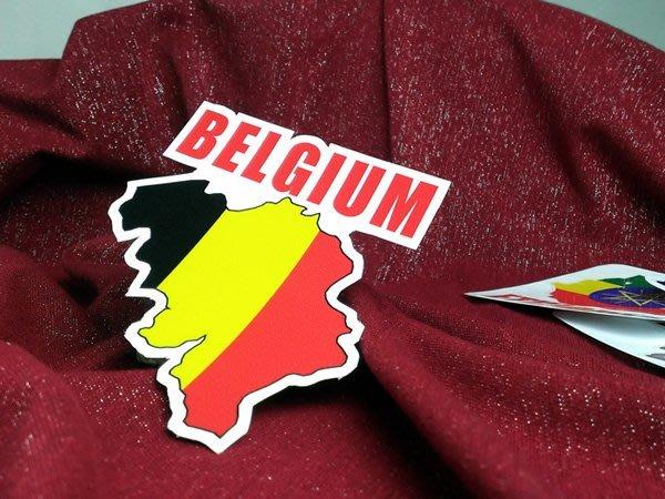 【衝浪小胖】比利時國旗地圖抗UV、防水登機箱貼紙/Belgium/世界多國款可收集和訂製