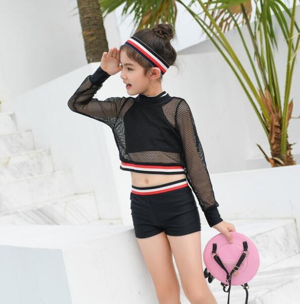 莎芭 韓版女孩泳衣 運動風兒童中大童2-15歲學生保守防曬分體平角褲三件套泳裝