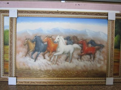 『府城畫廊-手繪油畫』八駿馬-八駿圖-馬到成功-招財圖-72x102-(含框價,可換框)-有實體店面-請查看關於我聯繫-