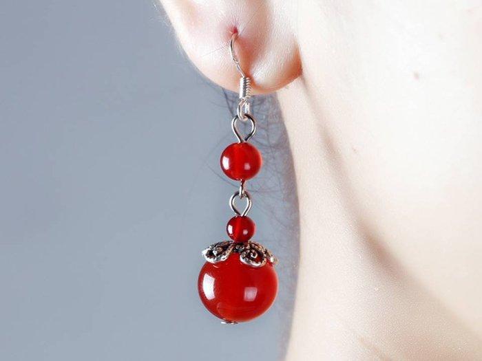 天然水晶紅瑪瑙原創手工耳飾