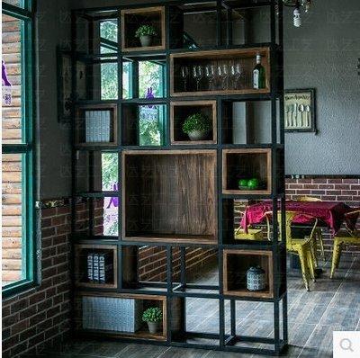 『格倫雅』美式書架客廳復古書櫃鐵藝隔擱板置物架實木隔斷展示貨架^17713