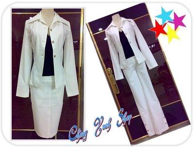 °☆ 珮齊精品舖 ☆° IN白色銀扣套裝三件(含外套/裙子/褲子)~ OL實穿款
