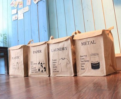 星雜貨設計生活 日系棉麻置物桶 森林系鄉村風收納袋 髒衣袋 洗衣籃 玩具收納箱 垃圾桶 防塵防汙防潑水分類籃整理箱