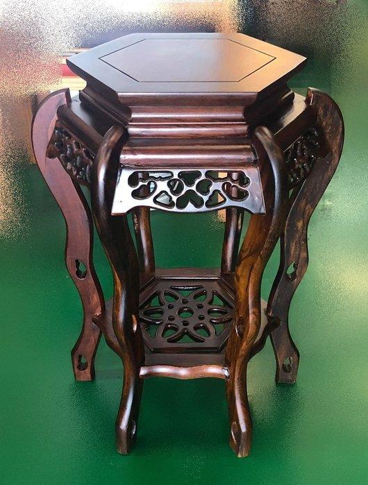 仿古家具【宏品二手家具】ZM1016AE*全新六腳高花架* 實木洽談桌椅休閒會議桌椅泡茶桌椅 書桌椅 辦公桌椅 會議桌椅