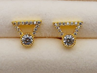如玉坊珠寶  進口西德三角耳環  黃金耳環  AG&
