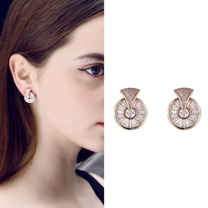 💎1431、珠寶感貴氣設計金鑲圓環滿鑽耳環💎正韓飾品 耳環 珠寶 925純銀針 EG003