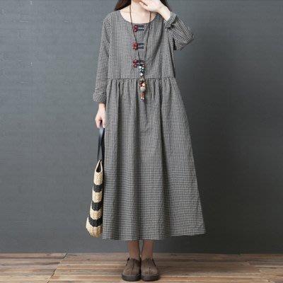 洋裝 連身裙 秋裝新款正韓文藝寬鬆大碼格子中長裙胖mm盤扣長袖棉麻洋裝