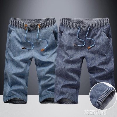 短褲男潮7分褲夏季薄款寬鬆運動休閒修身牛仔五分馬褲男士七分褲
