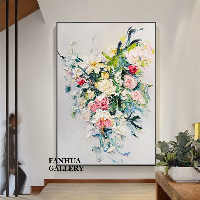 C - R - A - Z - Y - T - O - W - N 純手繪油畫立體筆觸招財花卉牡丹厚肌理抽象巨幅油畫掛畫住宅商業空間設計師款立體抽象油畫收藏品畫