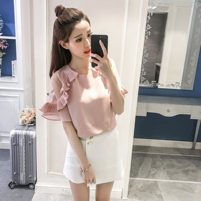 韓版透膚網紗拼接飛飛袖短袖雪紡上衣3色(S~XL)