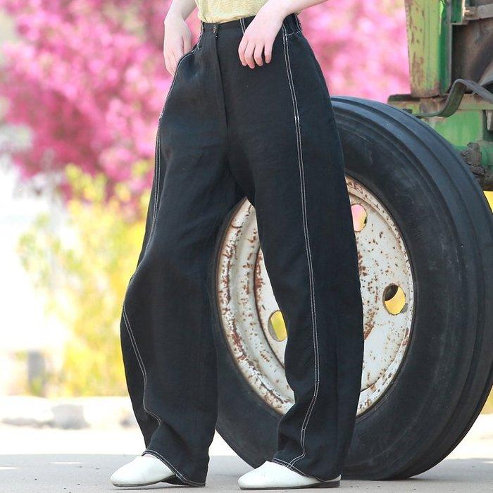 【鈷藍家】棉麻臆想 原創春夏新品悅己黑色亞麻哈倫褲兩側白色繡線鬆緊腰闊腿褲休閒長褲