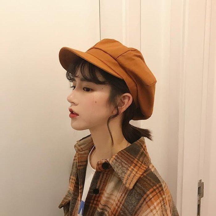 春秋薄款軟頂純色八角帽女士休閒日系文藝畫家帽子學生復古貝雷帽