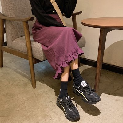Corle韓國女裝開叉包臀裙子洋裝下擺花邊2021早春款正韓高腰中長款百搭紫色半身裙女